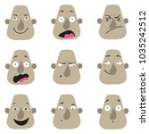 set of cartoon male facial... | Shutterstock .eps vector #1035242512