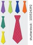 Bright heart silk tie stickers in vector format. - stock vector