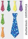 Bright mosaic silk tie stickers in vector format. - stock vector