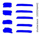 set of hand painted blue brush... | Shutterstock .eps vector #1035246442
