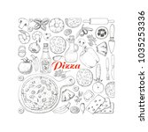 vector square of pizza and its... | Shutterstock .eps vector #1035253336