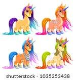 baby unicorns for luck ... | Shutterstock .eps vector #1035253438