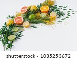 composition of flowers and... | Shutterstock . vector #1035253672