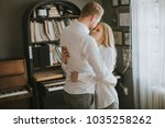 loving young couple laughing ... | Shutterstock . vector #1035258262