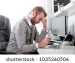 man in desk office suffering... | Shutterstock . vector #1035260506