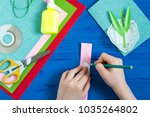 child makes greeting card with... | Shutterstock . vector #1035264802