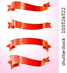 set of four curled red ribbons  ... | Shutterstock .eps vector #103526522