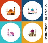 icon flat mosque set of muslim  ... | Shutterstock .eps vector #1035265222