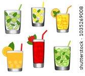 glass juice  various soft drinks | Shutterstock .eps vector #1035269008