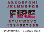 alphabet 80's retro font. fire...   Shutterstock .eps vector #1035274516