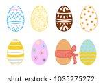 vector set of easter eggs | Shutterstock .eps vector #1035275272