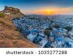 the blue city and mehrangarh... | Shutterstock . vector #1035277288