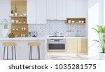 modern kitchen room interior... | Shutterstock . vector #1035281575