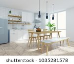 modern scandinavian kitchen and ... | Shutterstock . vector #1035281578