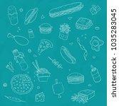 fast food draw wallpaper | Shutterstock . vector #1035283045