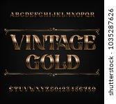 vintage gold alphabet font.... | Shutterstock .eps vector #1035287626