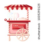 pink cotton candy cart kiosk on ... | Shutterstock .eps vector #1035293125