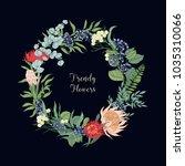 wreath made of trendy beautiful ... | Shutterstock .eps vector #1035310066