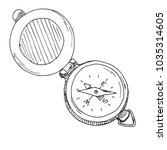 sketch of a compass. vector... | Shutterstock .eps vector #1035314605