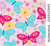seamless pattern with flower ... | Shutterstock .eps vector #1035315442