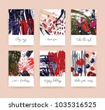 bundle of textured card or... | Shutterstock .eps vector #1035316525