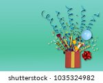 red gift box with various party ... | Shutterstock . vector #1035324982