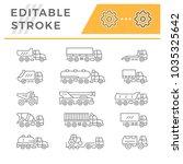 set line icons of trucks   Shutterstock .eps vector #1035325642