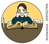 cute girl studying medieval...   Shutterstock .eps vector #1035327496
