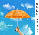 rain drops realistic poster... | Shutterstock .eps vector #1035328552