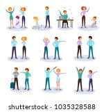 characters expressing anger... | Shutterstock .eps vector #1035328588