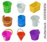 bucket types container icons... | Shutterstock .eps vector #1035338356