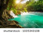 chet sao noi waterfall in khao... | Shutterstock . vector #1035343108