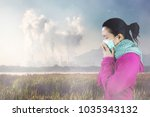 woman with flu sneezing  woman... | Shutterstock . vector #1035343132