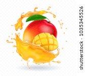 a splash of juice with mango...   Shutterstock .eps vector #1035345526