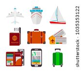 colorful set of travel icons in ... | Shutterstock .eps vector #1035353122