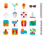 colorful set of travel icons in ... | Shutterstock .eps vector #1035354052