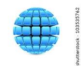 3d blue ball vector