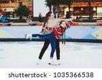 cute teen girl learns to skate... | Shutterstock . vector #1035366538