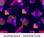 memphis seamless pattern.... | Shutterstock .eps vector #1035367126