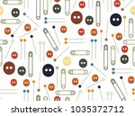 collection sets of sewing... | Shutterstock .eps vector #1035372712