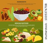 horizontal banners with mexican ... | Shutterstock .eps vector #1035376708