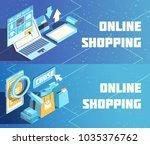 online shopping horizontal... | Shutterstock .eps vector #1035376762