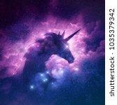 a unicorn silhouette in a... | Shutterstock . vector #1035379342