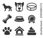 dog icons set on white... | Shutterstock . vector #1035384172