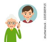 grandmother with phone. elderly ...   Shutterstock .eps vector #1035385915