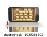 3d illustration. smartphone... | Shutterstock . vector #1035386302