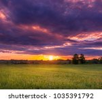 summer sunset on the field with ... | Shutterstock . vector #1035391792