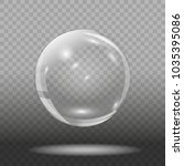empty glass ball on transparent ... | Shutterstock .eps vector #1035395086