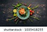 eggplant caviar with feta...   Shutterstock . vector #1035418255