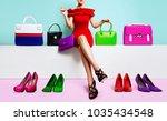 beautiful legs woman sitting... | Shutterstock . vector #1035434548